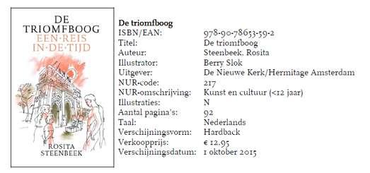 150922 Rosita Steenbeek publiceert eerste kinderboek: De triomfboog